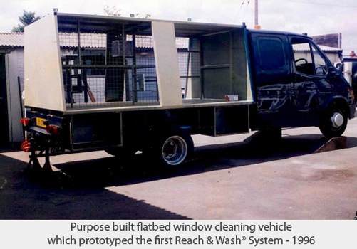 Purpose built flatbed window cleaning vehicle which prototyped the first Reach & Wash System - 1996