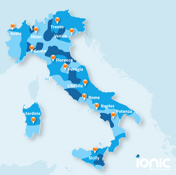 Map showing the quality of water hardness in Italy